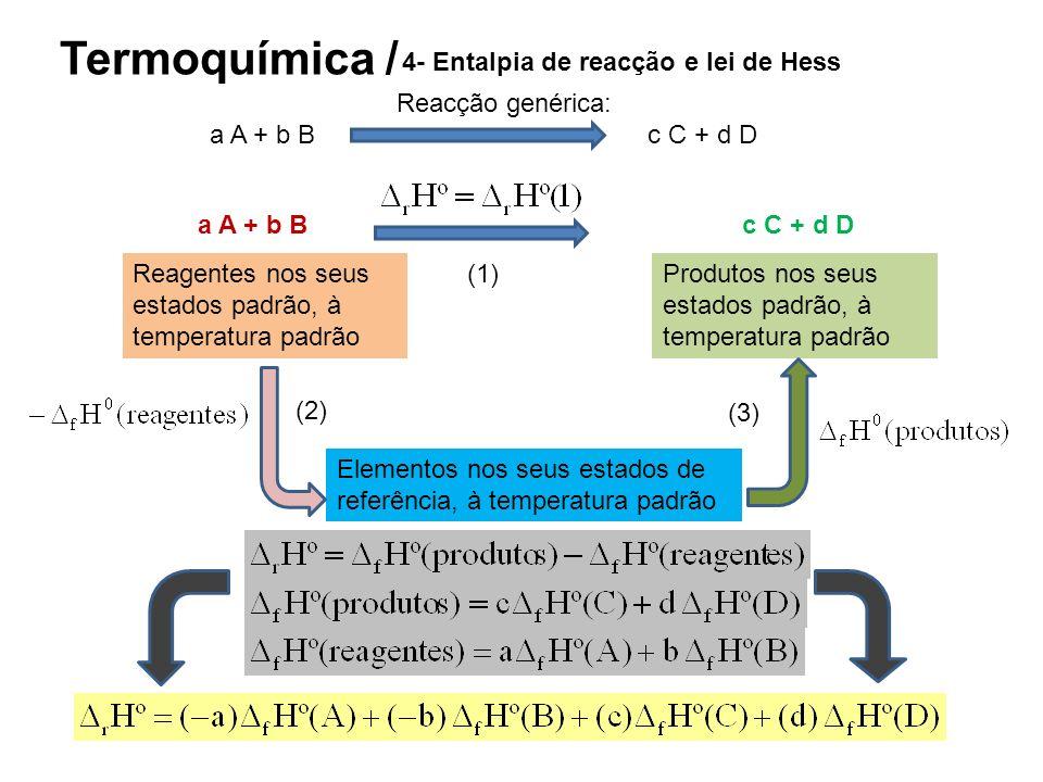 Termoquímica / 4- Entalpia de reacção e lei de Hess Reacção genérica: