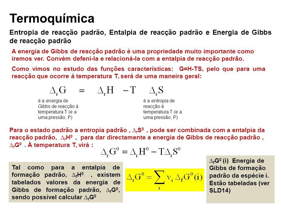 Termoquímica Entropia de reacção padrão, Entalpia de reacção padrão e Energia de Gibbs de reacção padrão.