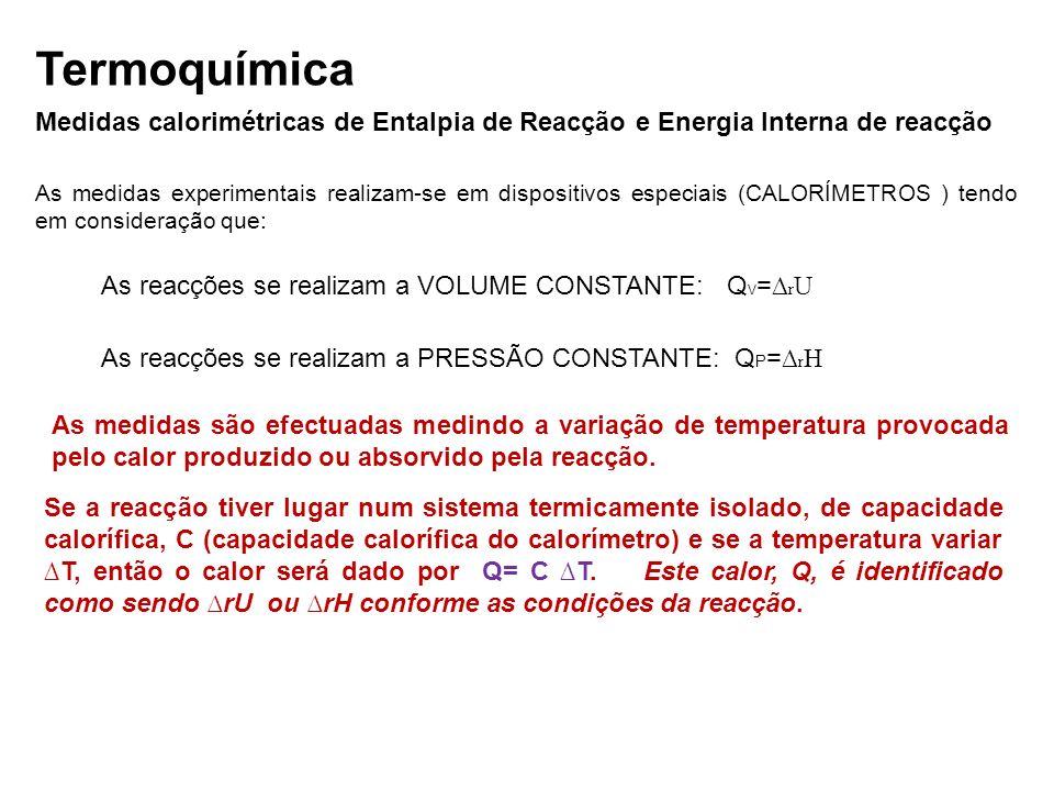 Termoquímica Medidas calorimétricas de Entalpia de Reacção e Energia Interna de reacção.