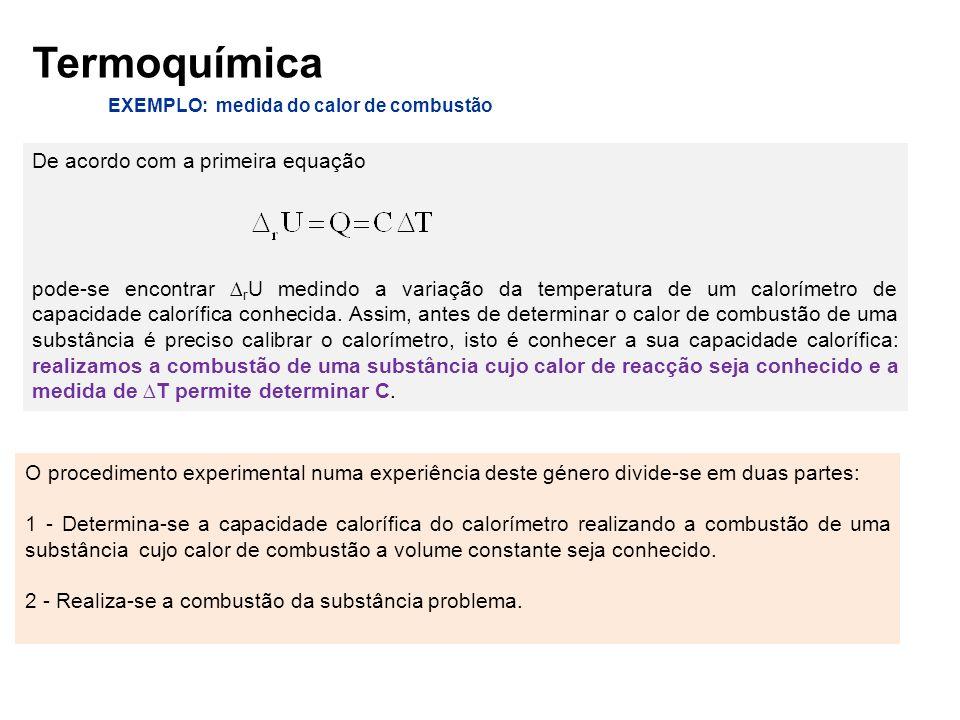 EXEMPLO: medida do calor de combustão