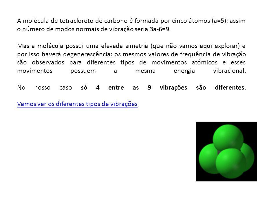 A molécula de tetracloreto de carbono é formada por cinco átomos (a=5): assim o número de modos normais de vibração seria 3a-6=9.