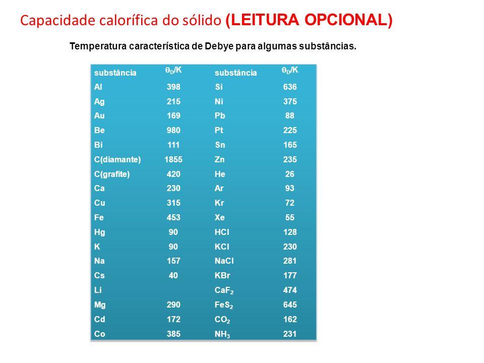 Capacidade calorífica do sólido (LEITURA OPCIONAL)
