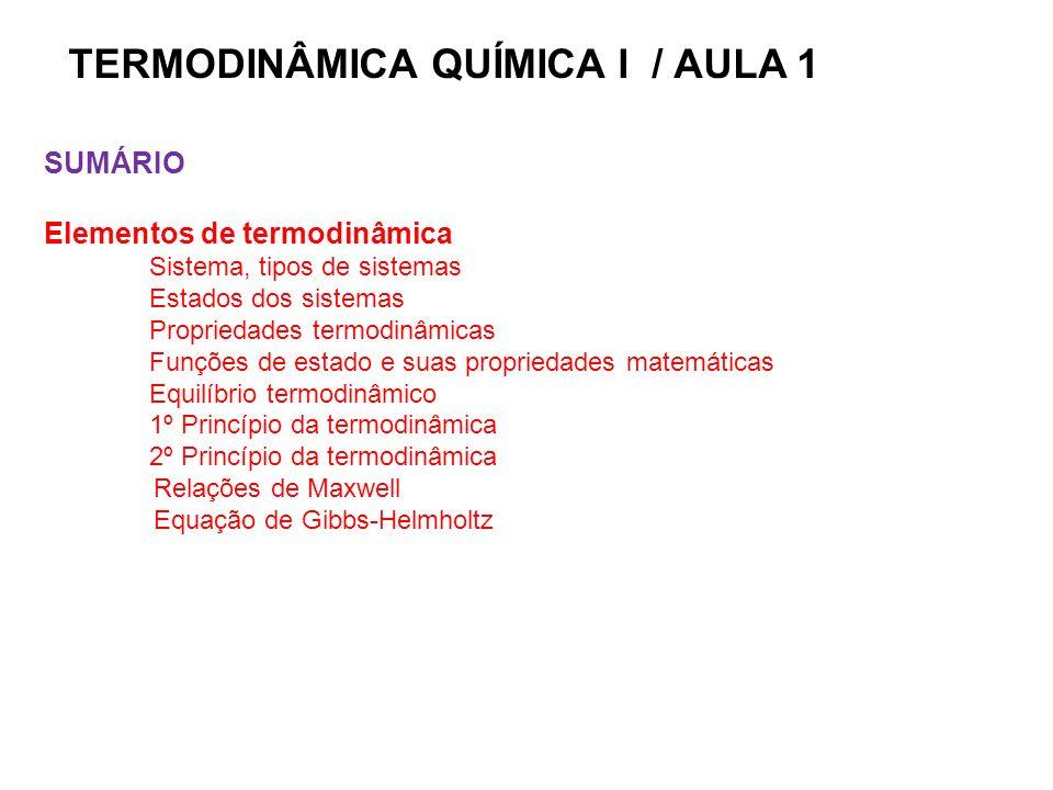 TERMODINÂMICA QUÍMICA I / AULA 1