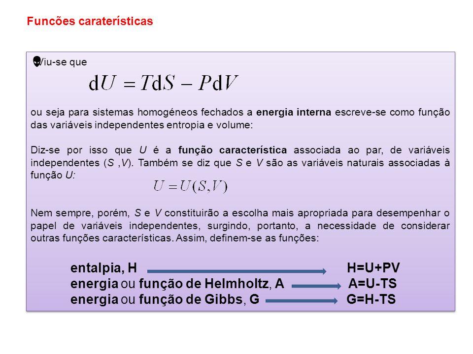 energia ou função de Helmholtz, A A=U-TS