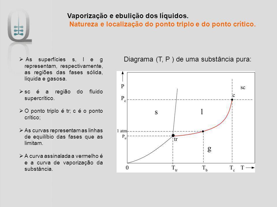 Diagrama (T, P ) de uma substância pura: