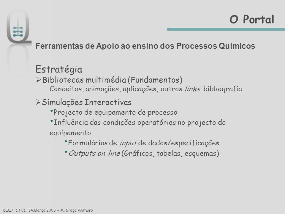 O Portal Ferramentas de Apoio ao ensino dos Processos Químicos. Estratégia. Bibliotecas multimédia (Fundamentos)