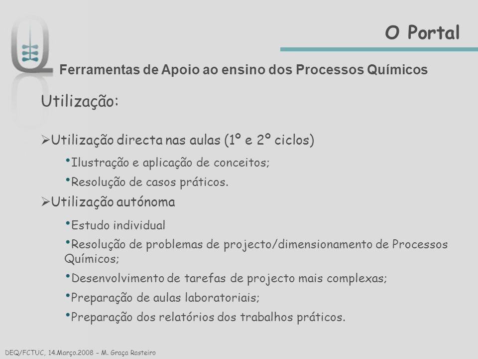 O Portal Ferramentas de Apoio ao ensino dos Processos Químicos. Utilização: Utilização directa nas aulas (1º e 2º ciclos)