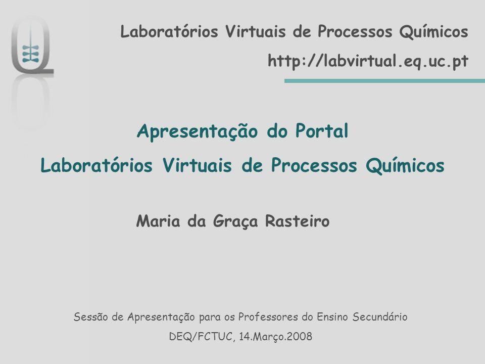 Apresentação do Portal Laboratórios Virtuais de Processos Químicos