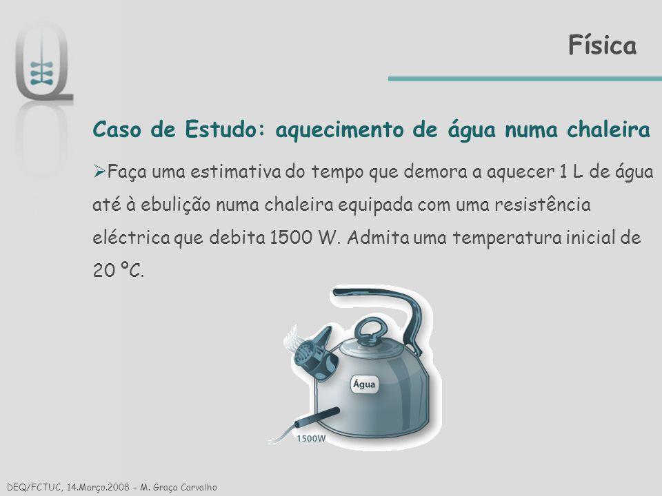 Física Caso de Estudo: aquecimento de água numa chaleira