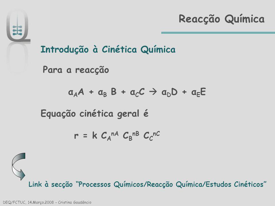 Reacção Química Introdução à Cinética Química Equação cinética geral é