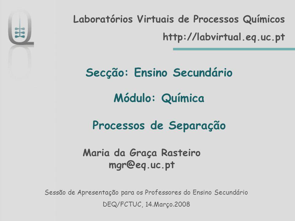 Secção: Ensino Secundário Módulo: Química Processos de Separação
