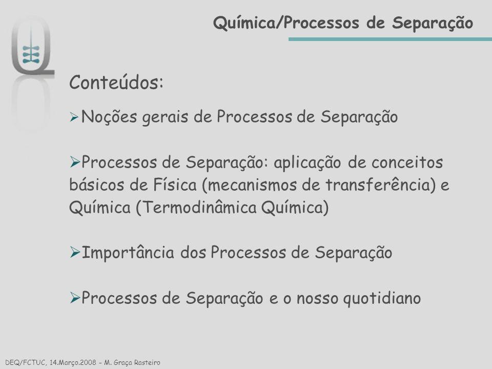 Conteúdos: Química/Processos de Separação