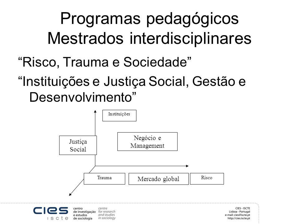 Programas pedagógicos Mestrados interdisciplinares