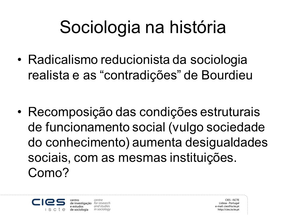 Sociologia na história