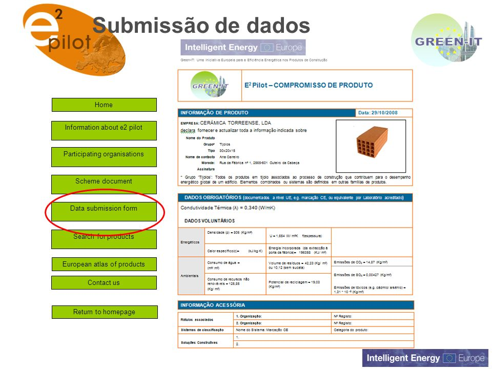 GREEN-IT Submissão de dados Home Information about e2 pilot