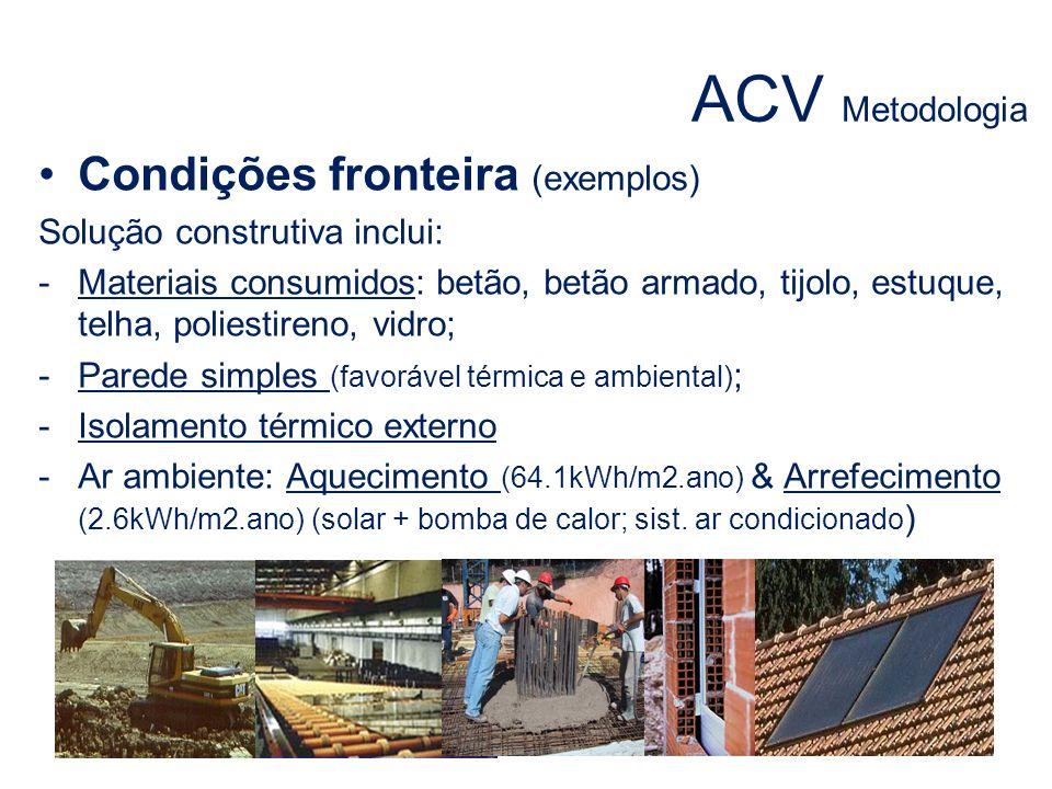 ACV Metodologia Condições fronteira (exemplos)