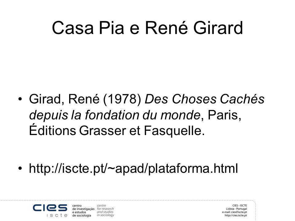 Casa Pia e René Girard Girad, René (1978) Des Choses Cachés depuis la fondation du monde, Paris, Éditions Grasser et Fasquelle.