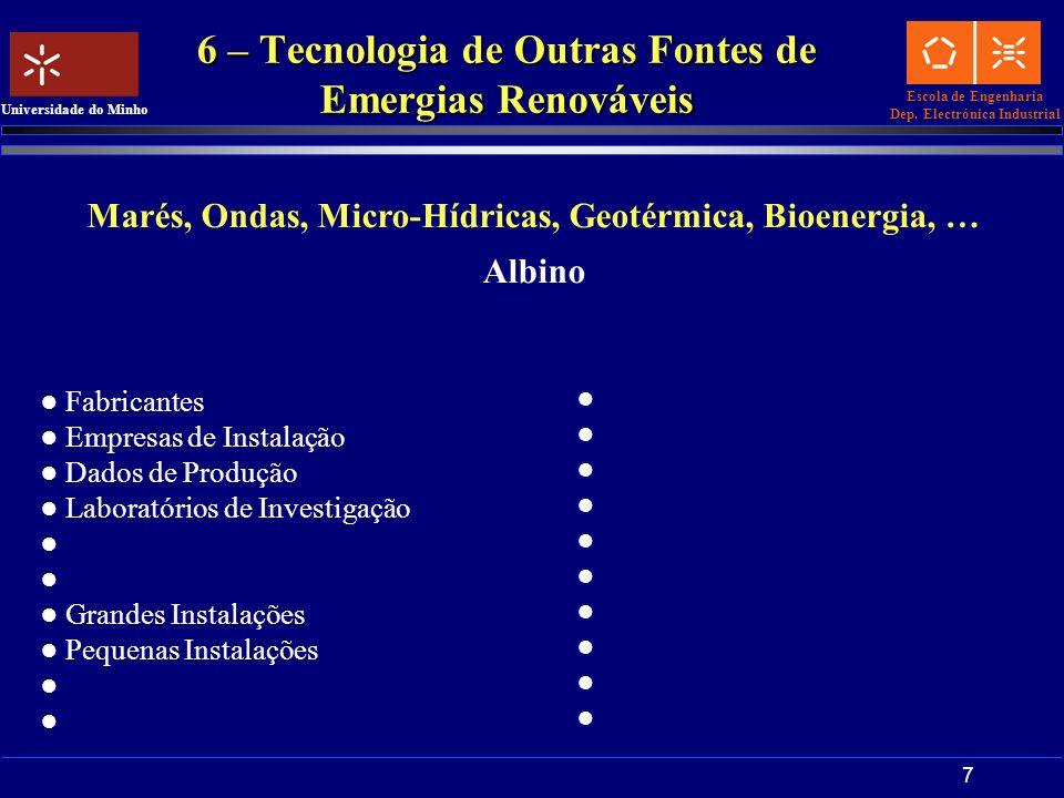 6 – Tecnologia de Outras Fontes de Emergias Renováveis