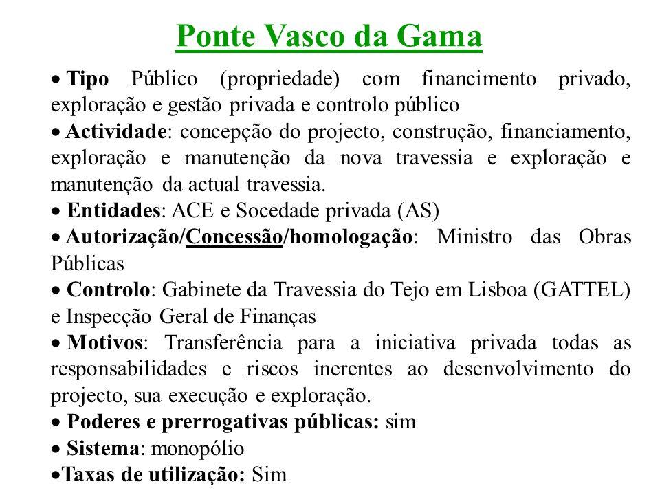 Ponte Vasco da Gama Tipo Público (propriedade) com financimento privado, exploração e gestão privada e controlo público.