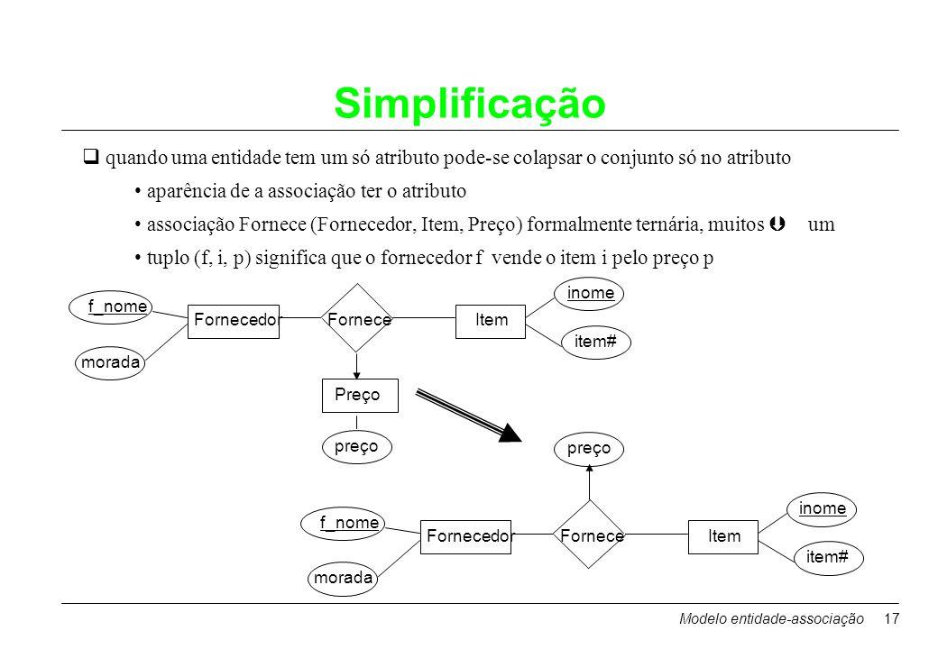 Simplificação quando uma entidade tem um só atributo pode-se colapsar o conjunto só no atributo. • aparência de a associação ter o atributo.