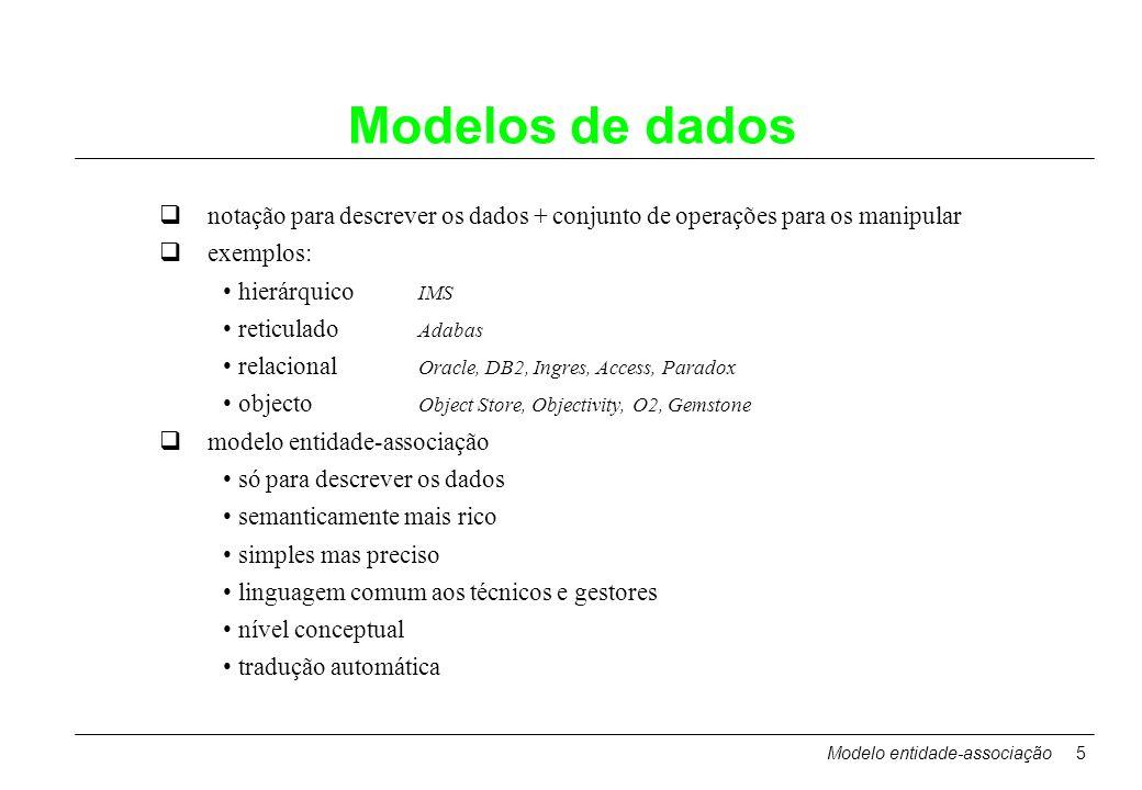 Modelos de dados notação para descrever os dados + conjunto de operações para os manipular. exemplos: