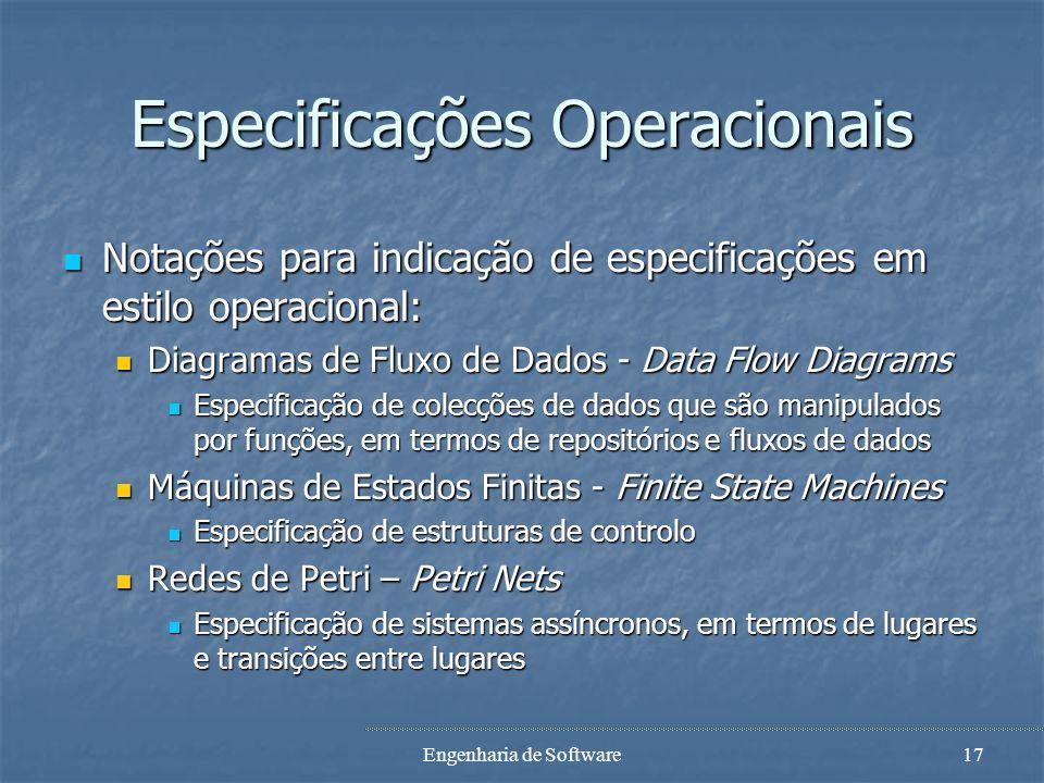 Especificações Operacionais