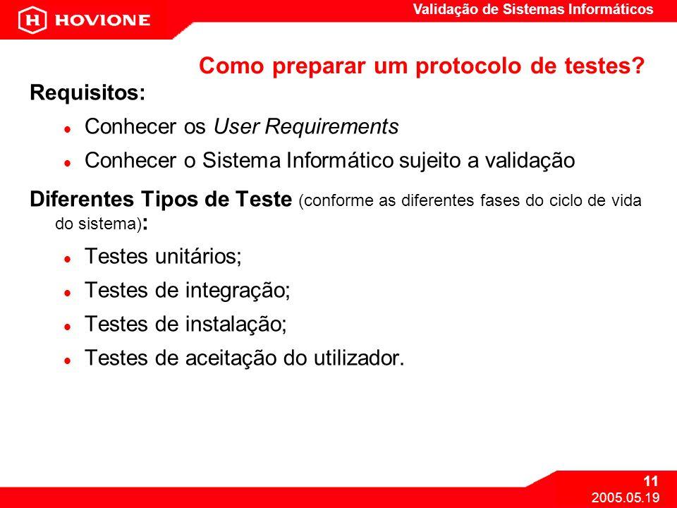 Como preparar um protocolo de testes