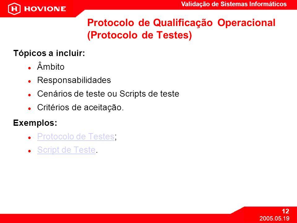 Protocolo de Qualificação Operacional (Protocolo de Testes)