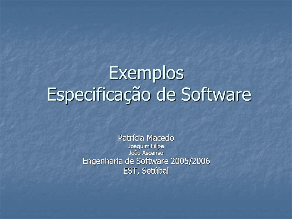 Exemplos Especificação de Software