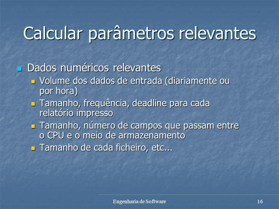 Calcular parâmetros relevantes