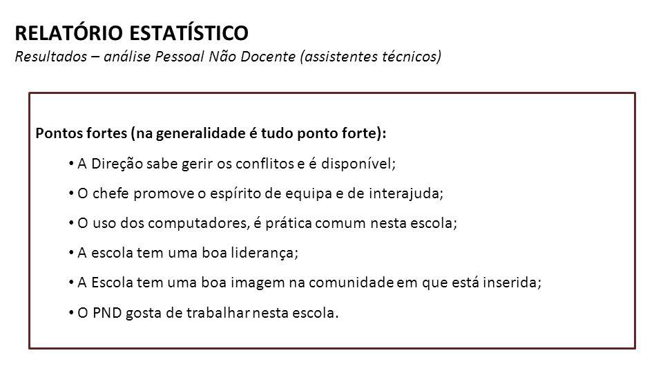 RELATÓRIO ESTATÍSTICO Resultados – análise Pessoal Não Docente (assistentes técnicos)