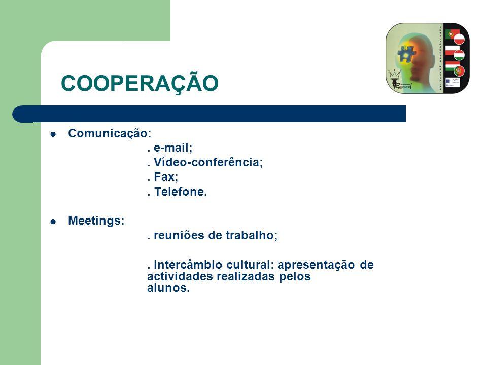 COOPERAÇÃO Comunicação: . e-mail; . Vídeo-conferência; . Fax;