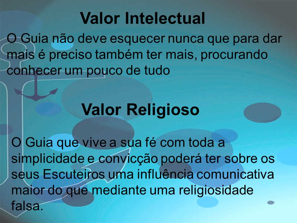 Valor Intelectual Valor Religioso