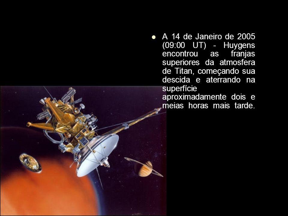A 14 de Janeiro de 2005 (09:00 UT) - Huygens encontrou as franjas superiores da atmosfera de Titan, começando sua descida e aterrando na superfície aproximadamente dois e meias horas mais tarde.