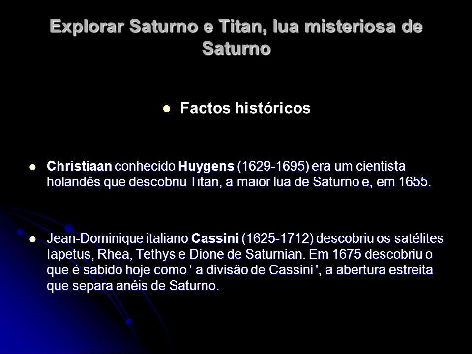 Explorar Saturno e Titan, lua misteriosa de Saturno