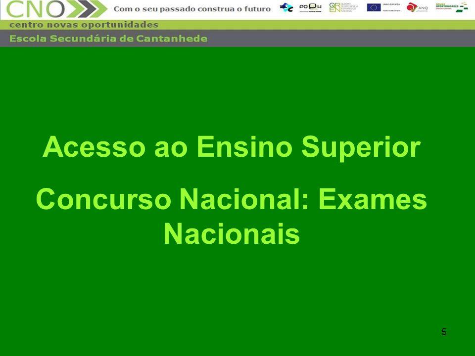 Acesso ao Ensino Superior Concurso Nacional: Exames Nacionais