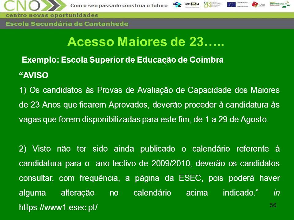 Acesso Maiores de 23….. Exemplo: Escola Superior de Educação de Coimbra. AVISO.