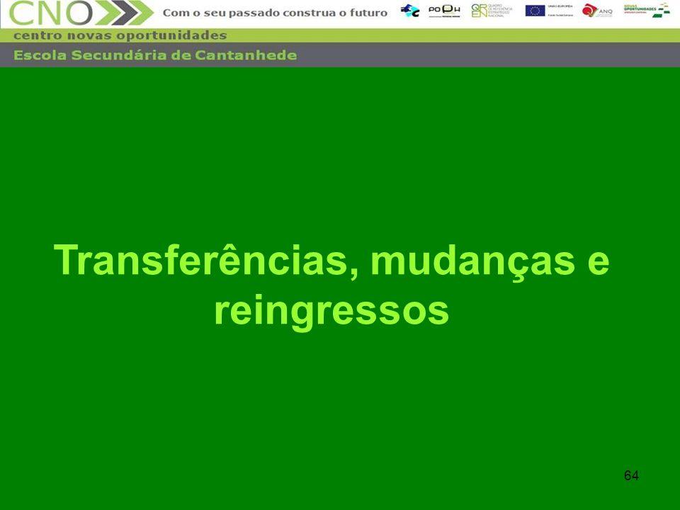 Transferências, mudanças e reingressos