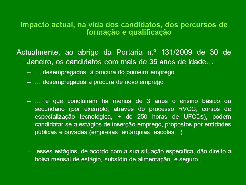Impacto actual, na vida dos candidatos, dos percursos de formação e qualificação