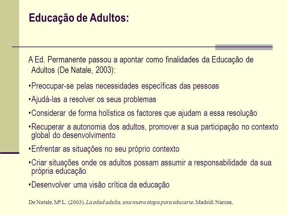 Educação de Adultos:A Ed. Permanente passou a apontar como finalidades da Educação de Adultos (De Natale, 2003):