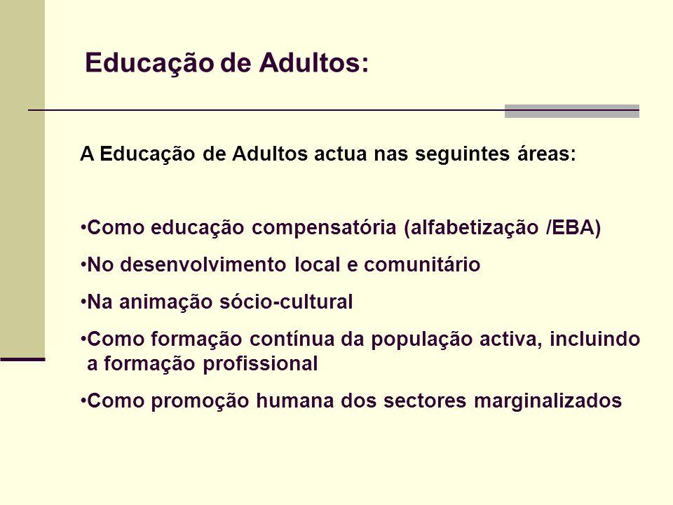 Educação de Adultos: A Educação de Adultos actua nas seguintes áreas: