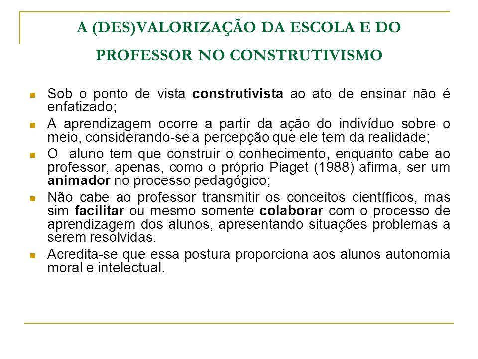 A (DES)VALORIZAÇÃO DA ESCOLA E DO PROFESSOR NO CONSTRUTIVISMO