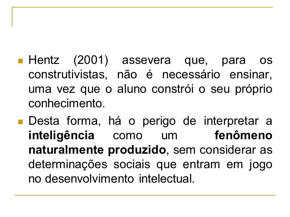 Hentz (2001) assevera que, para os construtivistas, não é necessário ensinar, uma vez que o aluno constrói o seu próprio conhecimento.