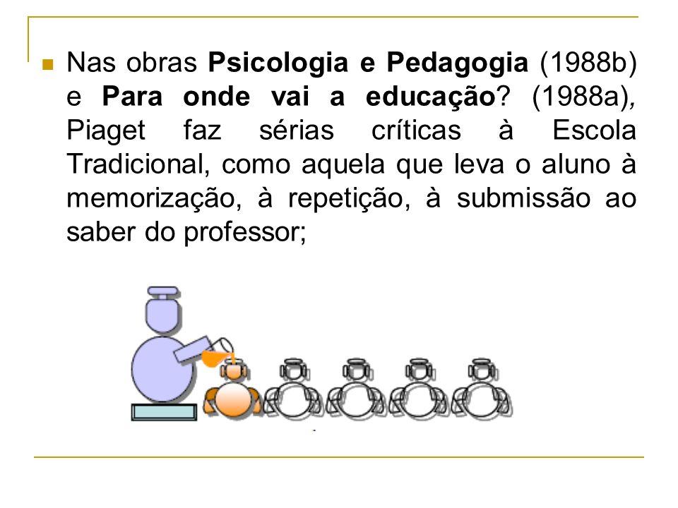 Nas obras Psicologia e Pedagogia (1988b) e Para onde vai a educação