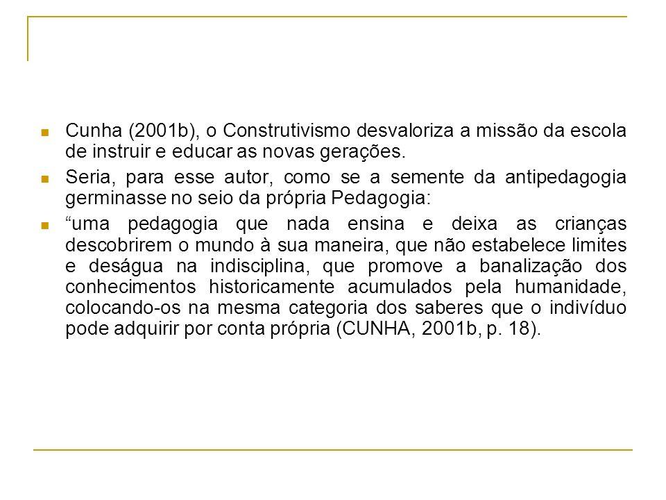 Cunha (2001b), o Construtivismo desvaloriza a missão da escola de instruir e educar as novas gerações.