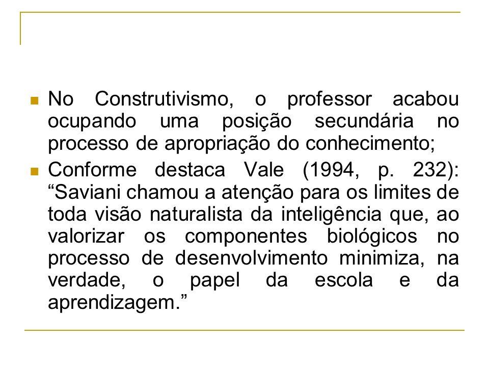 No Construtivismo, o professor acabou ocupando uma posição secundária no processo de apropriação do conhecimento;