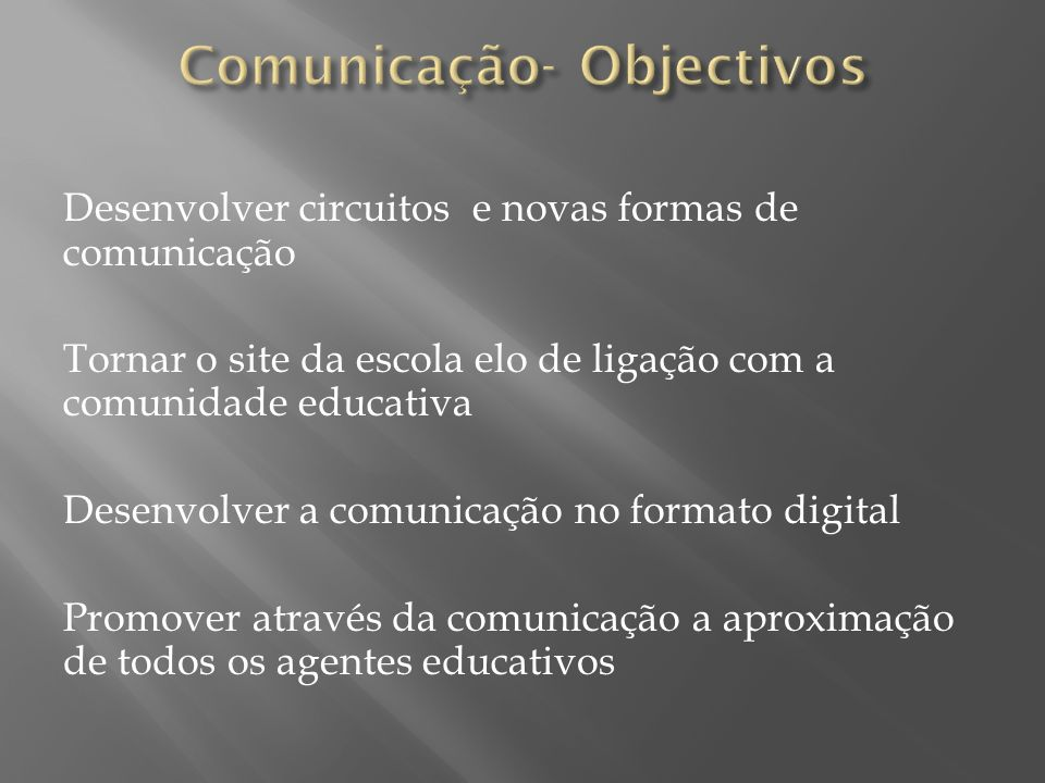 Comunicação- Objectivos