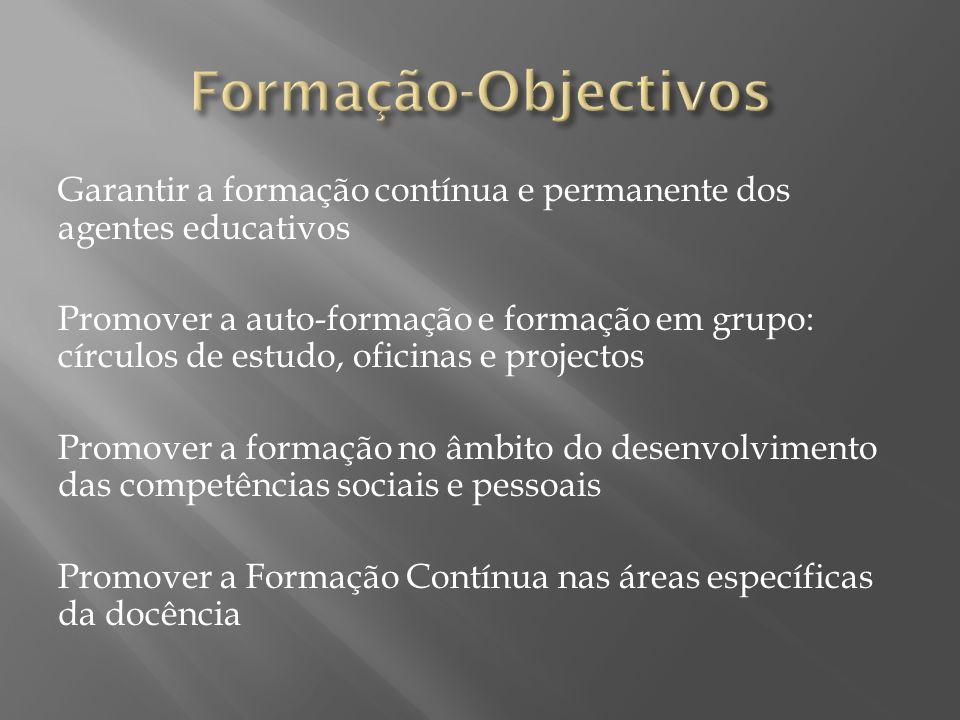 Formação-Objectivos Garantir a formação contínua e permanente dos agentes educativos.