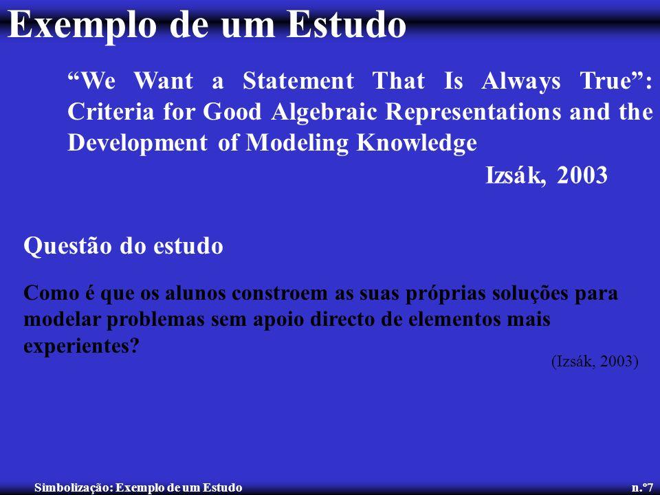 Simbolização: Exemplo de um Estudo n.º7