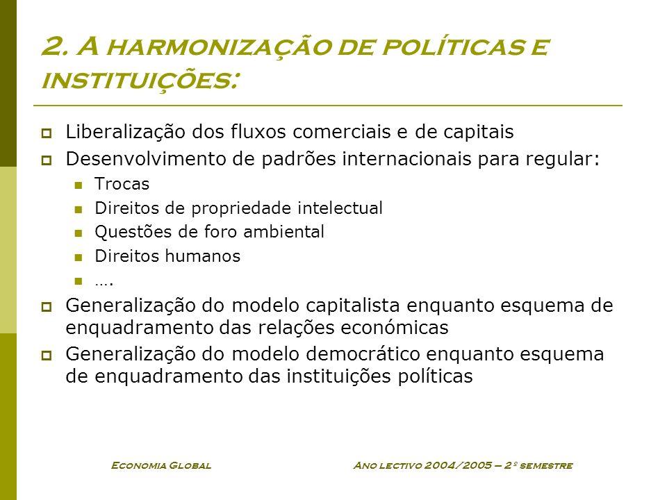 2. A harmonização de políticas e instituições:
